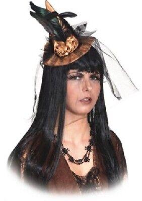 100% Vero Donna Bronzo Halloween Streghe Mini Cappello Con Velo Costume Vestito