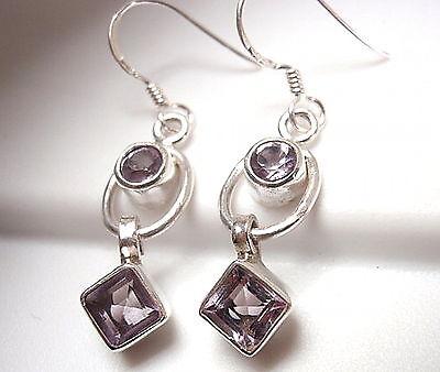 Faceted Purple Amethyst Earrings 925 Sterling Silver Round Square Dangle Hoop