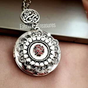 Firefighter Photo Locket Necklace