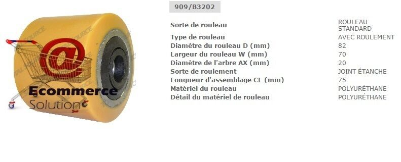 GALET ROUE TRANSPALETTE 75 JUNGHEINRICH EJE120 dim 82 70 75 TRANSPALETTE 20 mm PIECES DETACHEES 2f80d1