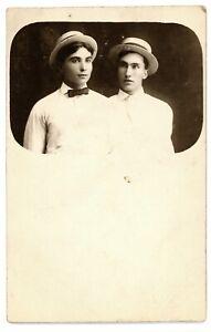 RPPC-Handsome-Dapper-Young-Gentlemen-Straw-Hats-Portrait-Real-Photo-Postcard