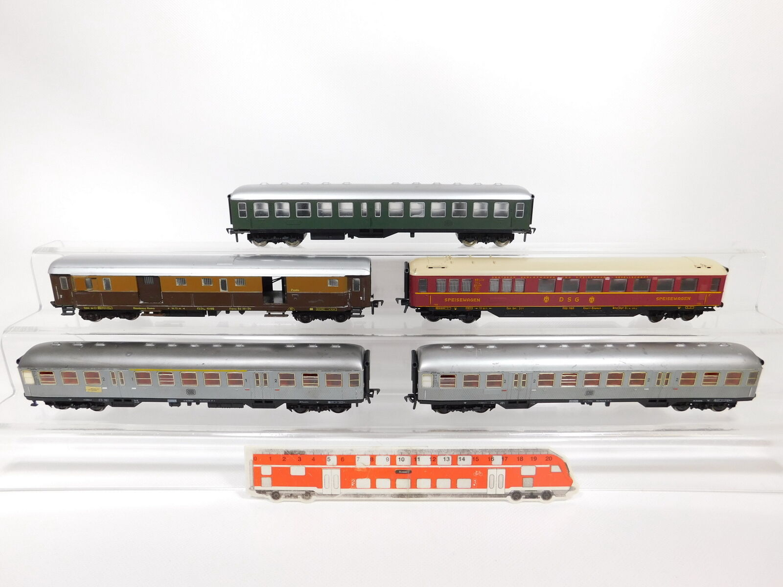 CF992-1  5x Fleischmann H0 DC Wagen DB DSG Poste  1160 + 40634 etc, Mängel gut