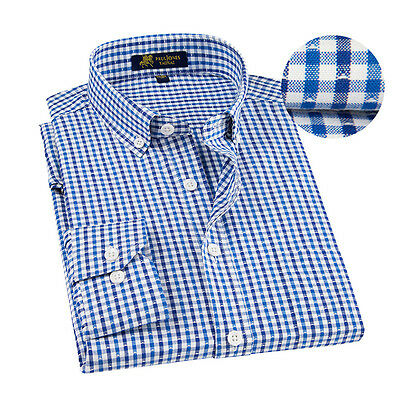 New Fashion Mens Long Sleeve Casual Regular Plaids Dress Stylish Shirts EK6382