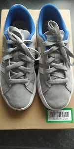 Kids Grey \u0026 White Suede Trainers. UK