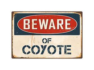 Beware-Of-Coyote-8-034-x-12-034-Vintage-Aluminum-Retro-Metal-Sign-VS127