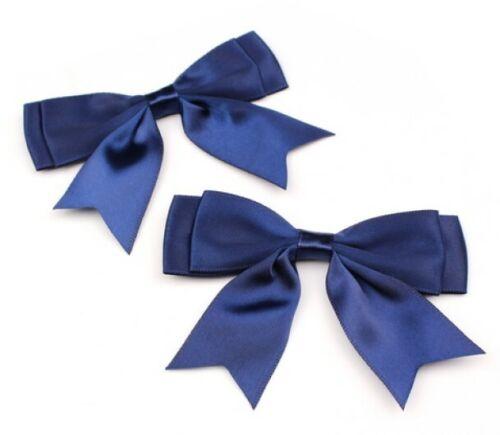 Pack de 5 bleu marine Large 8.5 cm//25 mm Ruban Satin prêts Craft Double Bows