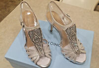 Silver Antonio Melani Nadelle Platform Jeweled Dress Leather Sandals $110