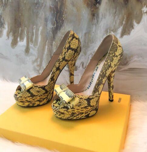 Fendi Yellow Bow Peep Toe Platform Sandals 38.5