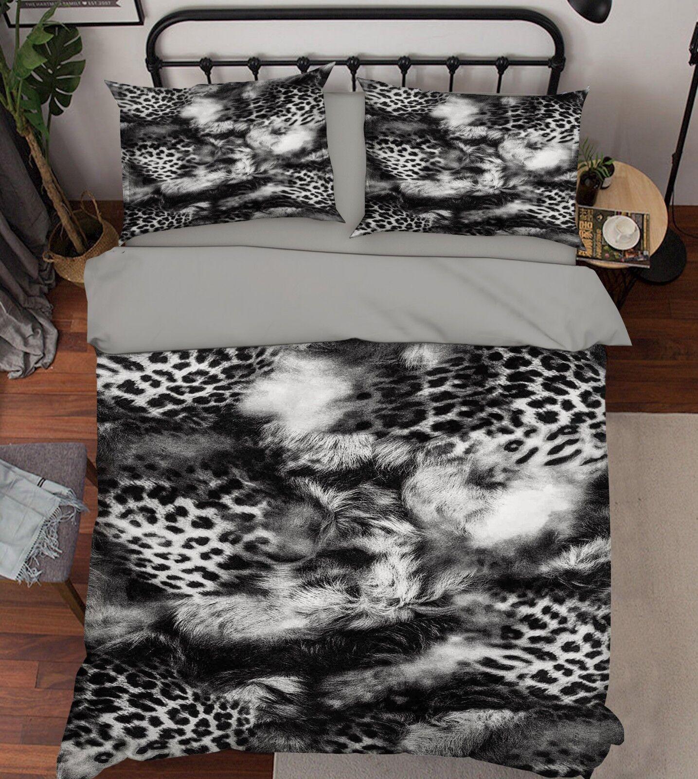 3D Leopard Fur 577 Bed Pillowcases Quilt Duvet Cover Set Single King UK Summer