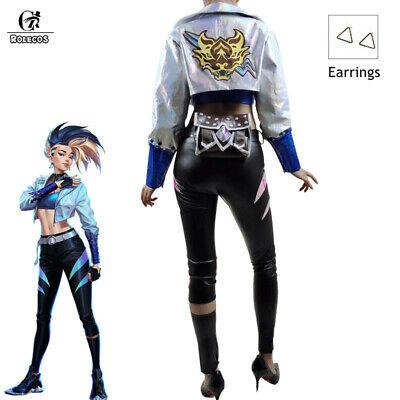 LOL Akali Cosplay Costume Jacket Uniform Outfit Suit Free Earrings