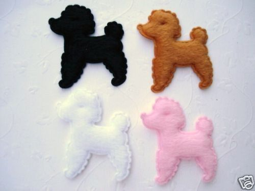 40 Poodle Dog Furry Felt Applique//puppy//pet//doll//Craft//Bow//Trim//Sewing//Baby H73