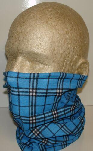 Blue Black Flannel Tubular Multi Function Headwear Scarf Balaclava Beanie Cap