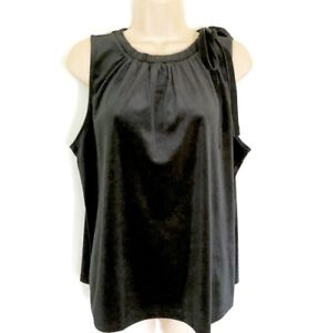 NWT-Ann-Taylor-Women-039-s-Black-Bow-Velvet-Ruched-Shell-Sleeveless-Top-XS-S-M-L-XL