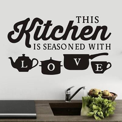 Black Kitchen Love Vinyl Wall Sticker Decal Mural Quote Word Art Home Decor 6L