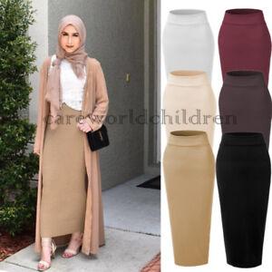 Muslim Girls High Waist Thick Skirt Slim Stretch Long Maxi