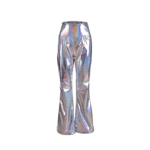 70s Style High Shine Flares SILVER Festival Fancy Dress