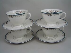 SET-OF-FOUR-ROYAL-DOULTON-OLD-COLONY-TEA-CUPS-AND-SAUCERS