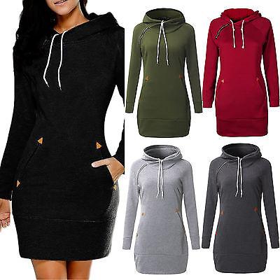 Women Lady Hooded Sweatshirt Long Sleeve Sweater Hoodie Jumper Drawstring Dress