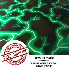 Hydrographic Water Transfer Hydro Dipping Dip Film Green Lightening 1m 19x38