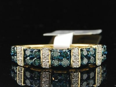 Ladies 10K White Gold Blue Diamond Engagement Ring Designer Wedding Band Bridal