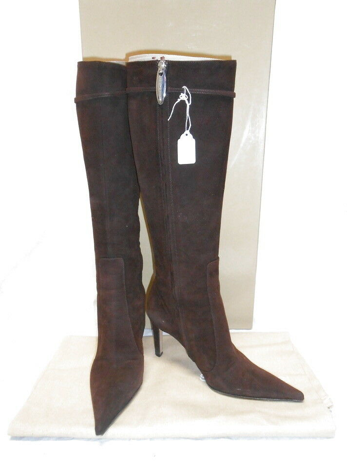 795 SERGIO ROSSI chocolate marron pointed tall bottes suede 35.5 6