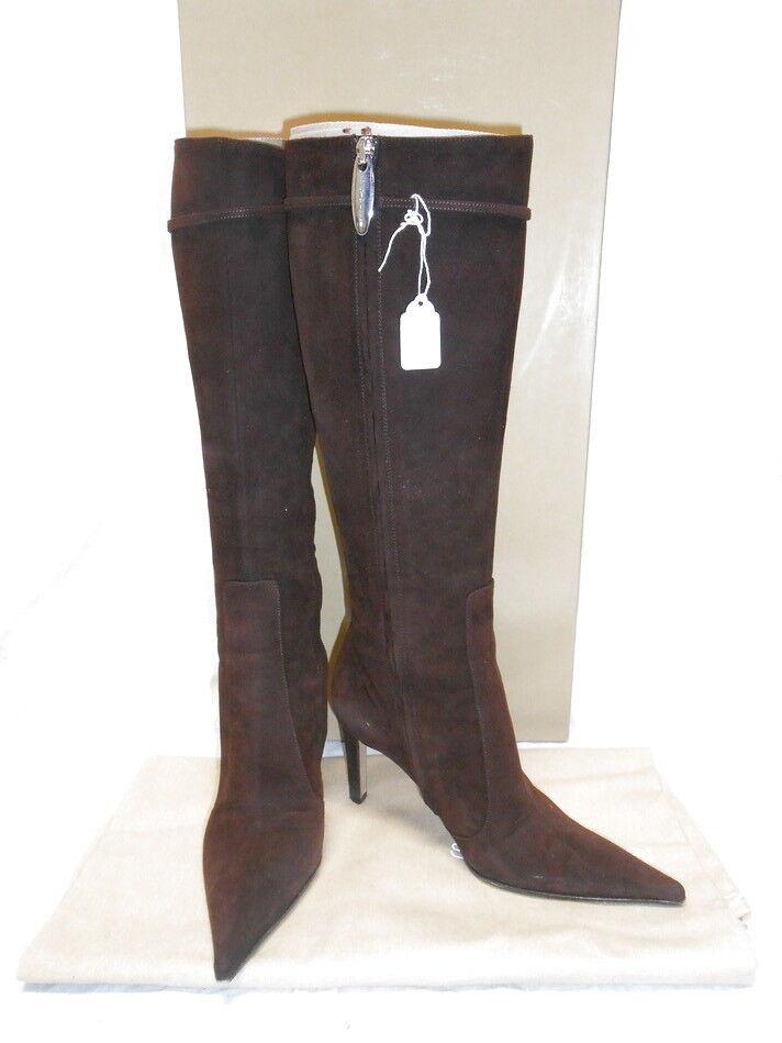 795 Sergio rossi botas de ante marrón chocolate alto Puntiagudo 35.5 6  calidad de primera clase