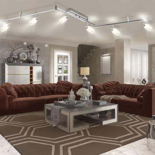 30 Watt LED Decken Leuchte Esszimmer Esstisch Chrom LxH 1800x200 mm Glas Diele