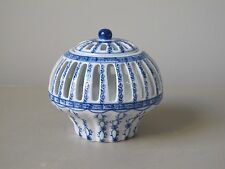 Vintage Chinese Blue and White Reticulated Porcelain Jar / Vase and Cover 4.5""