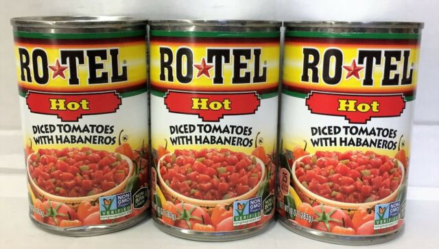 Rotel Hot Diced Tomatoes with Habaneros 10 oz (3 Cans)