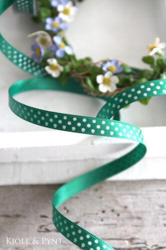 4m schmales Satinband Geschenkband grün dkl Punkte 10mm Pünktchen 555 0,40€//m