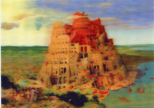 Pietet Bruegel -The Tower of Babel- 3D Action Lenticular Postcard Greeting Card
