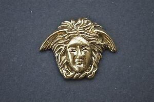 Small Art Nouveau angels head solid brass furniture mount ormalu H4