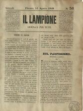 Il Lampione Quotidiano Satirico Collodi N.36 Sul Pauperismo 1848