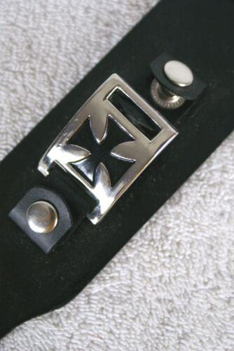 Black Goth Iron Cross Gothic Cuff Punk Rock Faux Leather Bracelet Lot of 14