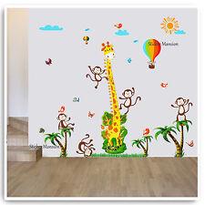 Giraffe Monkey Animal Height Chart Wall Stickers Jungle Nursery Baby Room Decal