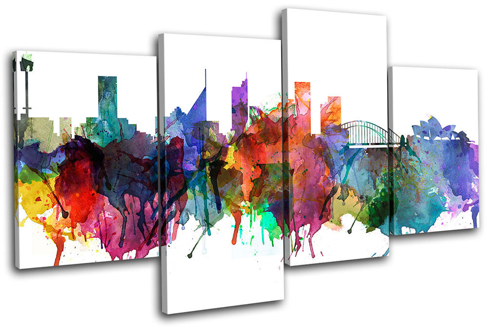 Sydney Watercolour  Abstract  City MULTI Leinwand Wand Kunst Bild drucken