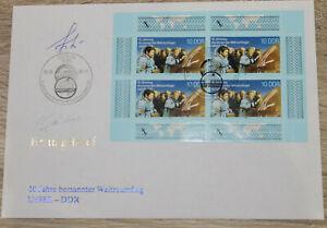 Original - Autogramme Sigmund Jähn & Waleri Bykowski auf DDR Ersttagsbrief
