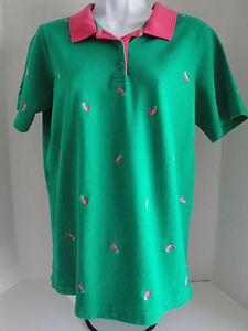 Quacker Factory M Shirt Green Pink Embroidered Pineapple Polo Top