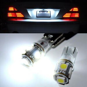 2X-White-T10-Wedge-5-SMD-5050-168-194-2825-W5W-LED-Car-License-Plate-Lights-Bulb
