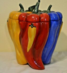 Cookie-Jar-Green-Yellow-Red-amp-Blue-Peppers-Jalapeno-Pablano-Habanero-Chile