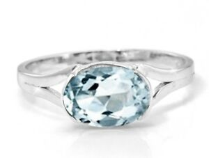 925-Sterling-Silver-Ring-Blue-Aquamarine-Natural-Solitaire-East-West-Size-4-11