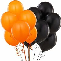100X Halloween Balloons Party Decorations Supplies Helium Quality Black & Orange
