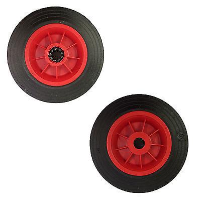 Rubber trolley wheels 200mm diameter 20mm bore black plastic centre.