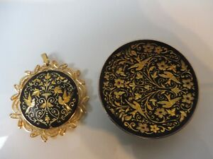 2-Beautiful-old-Trim-Bowl-And-Pendant-Gold-Plated-Toledo
