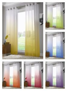 1049814e0c9a Image is loading Gradient-Bright-Summer-Curtain -Voile-Lightweight-Eyelet-Ring-