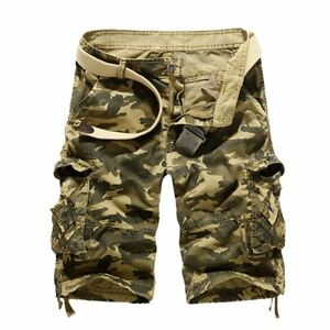 Cotton-Camouflage-Military-Cargo-Khaki-Casual-Slim-Jeans-Shorts-For-Men