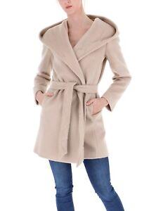 the best attitude 57c6f bcf24 Dettagli su Cappotto in beaver in lana con cappuccio, miele PENNYBLACK  modello ALFABETO