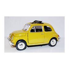 Bburago 22099 Fiat 500L mit Faltdach BJ 1968 gelb Maßstab 1:24 Modellauto NEU! °