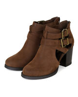 Women Soda Scribe-s Nubuck Cut Out Buckle Chunky Heel Ankle Bootie