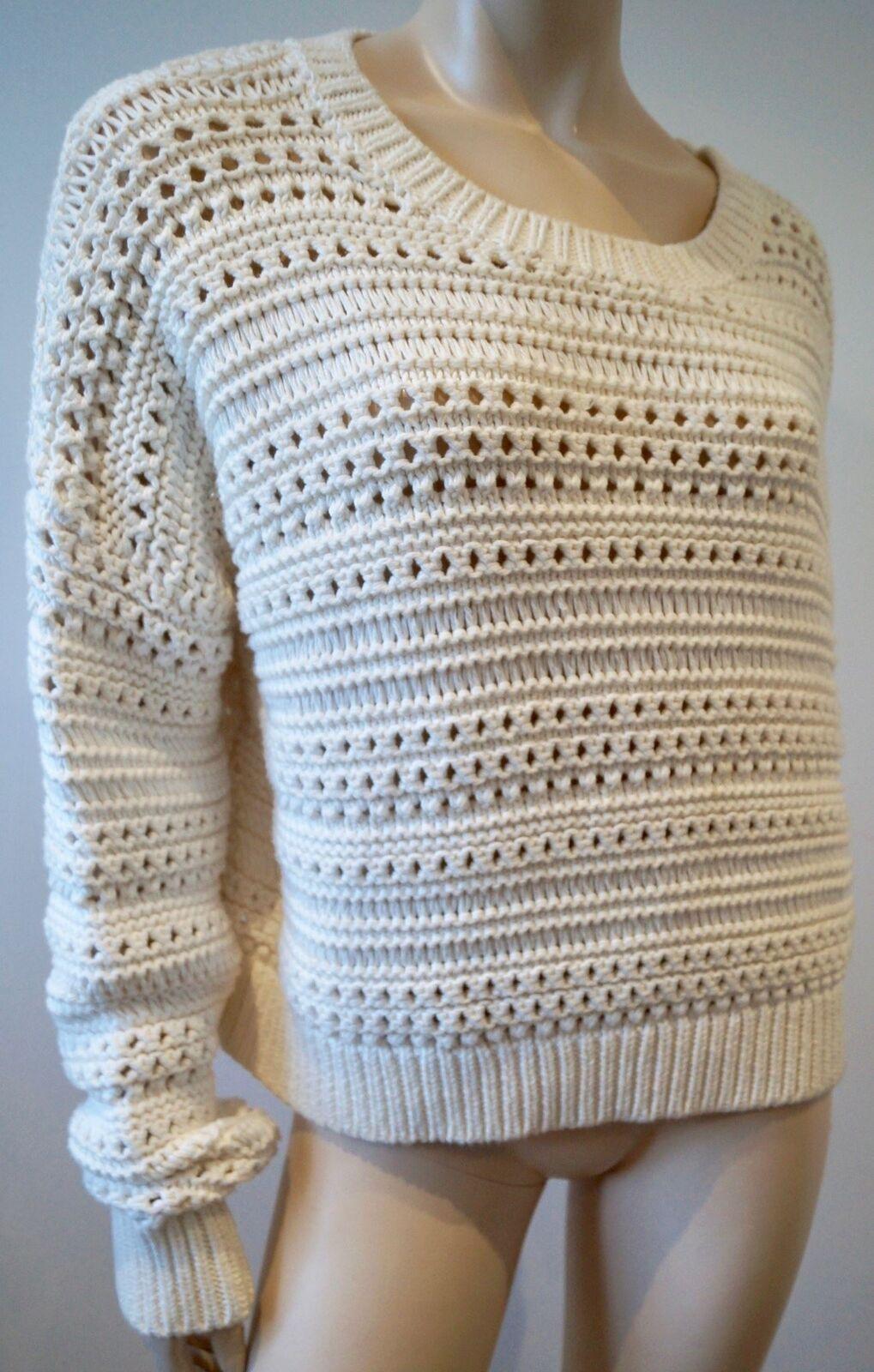 Crema ALL SAINTS 100% cotone Scollo Tondo Tondo Tondo Tacco allentato maglione Pullover Top L a4efdf